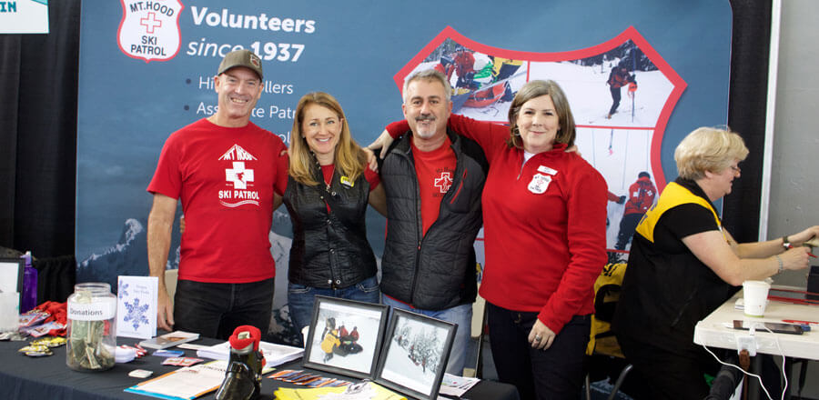 Mt Hood Ski Patrol volunteer booth at 2017 Snowvana event